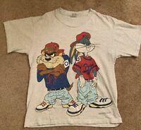Vtg Looney Tunes Taz & Bugs Hip Hop 1992 T-Shirt Mens Reprint Gildan