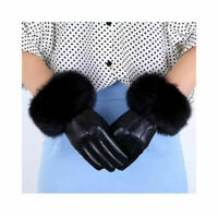 Women's Real Leather Gloves Warm Winter Soft Driving Fleece Lined Fur Gloves Fur