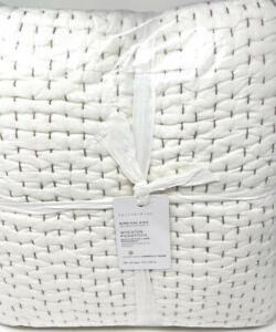 New~Pottery Barn Pick-Stitch Wheaton Reversible Striped Cotton Quilt~KING~Khaki