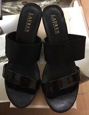 Ralph Lauren Rhianna Wedge Sandals Size 8.5B Black Color