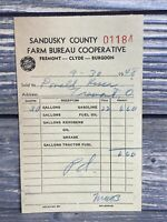 Vintage Receipt Sandusky County Farm Bureau Cooperative Gasoline Ohio 1948