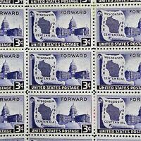 3c Wisconsin Statehood Centennial US Stamps Full Gum Full Pane MNH  RG1183