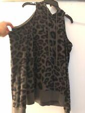 dccb6be928946 Splendid Gray Black Leopard Print Cold Shoulder Hoodie Sweatshirt Top S NWOT