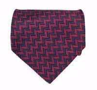 Jhane Barnes Tie Men's Red Navy Blue Zig Zag Print Geometric Fine Necktie ITALY