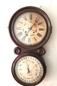 """Large 30"""" Ingraham Figure 8 Striking Perpetual Calendar 8 Day Wall Clock"""