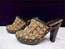 Coach Clogs Mules Slip on Shoes New Size 9.5 Logo Canvas, Leather and Wood