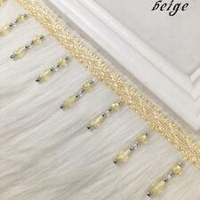 1yd Curtain Sewing Tassel Fringe Trim Tassel Crystal bead Lace Accessory beige
