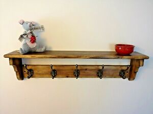Artisan Wooden Coat Rack Hand Made from Reclaimed Pine with Vintage Coat Hooks