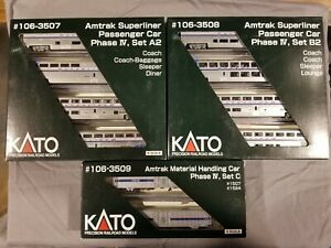 KATO N Scale - complete set of Amtrak Phase IV Passenger Cars and MHC - 3 boxes