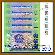 Uzbekistan 200 Sum x 5 Pcs Lot, 1997 P-80 Unc