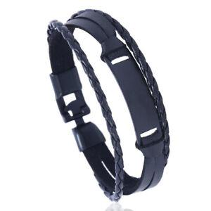Mens Boy Handmade Leather Multilayer Braided Bracelet Bangle Wristband Cuff Wrap