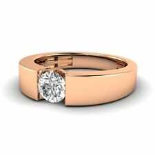 5mm Solitaire 0.49Ct White Topaz 10k Rose Gold Men's Engagement / Wedding Band