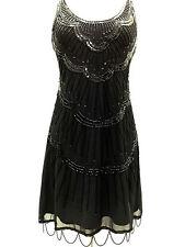 Custom Size Black Vintage 1920s Flapper Gatsby Downton Abbey Fringe Beaded Dress