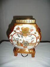ANTIQUE MARKED KUTANI SATSUMA STYLE TABLE LAMP VASE FIGURES,FLOWERS,BIRDS, MEIJI