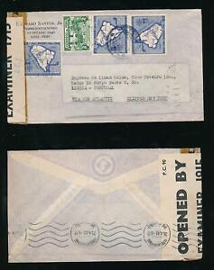 PERU 1943 to PORTUGAL via BERMUDA CENSOR INTERCEPTED CLIPPER AIRMAIL SANTOS ENV