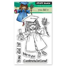PENNY BLACK RUBBER STAMPS CLEAR YOU DID IT NEW GRADUATION clear STAMP