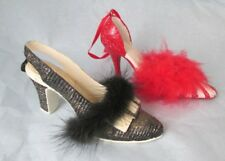 Sparkly High Heels w Feather Boa Christmas Ornament Set 2 Red & Black