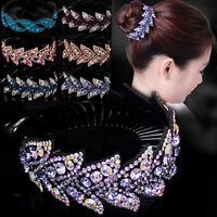 Women Colorful Crystal Rhinestone Hair Clips Claw Clamp Bun Net Ponytail Holder