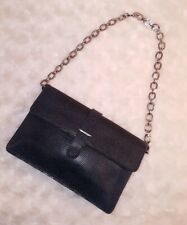 FURLA Italy Blue Snake Embossed Leather Chain Purse Clutch  Baguette  Small