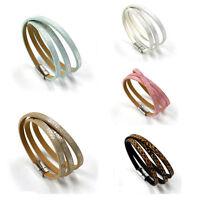 New Unisex Men's Multilayer Braided Leather Steel Magnetic Clasp Bracelet Bangle