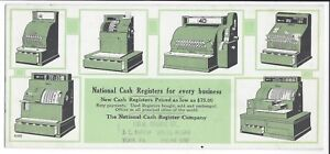 Illustrated Adv. Blotter, National Cash Register (6 Models Shown) c1930