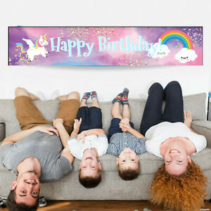 Personalised Decorations Rainbow Unicorn Girls Birthday Party Banner Supplies