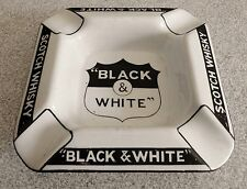 BLACK & WHITE shield SCOTCH WHISKY SCOTTIE ADVERT ADVERTISING ceramic ashtray