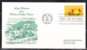 United States 1981 FDC cover Merry Christmas from Oregon. Bear . Gifts