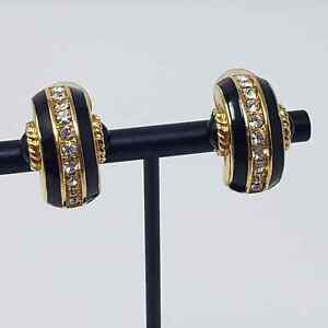 Swarovski Gold Tone Crystal Black Enamel Half Hoop Clip On Earrings Huggie