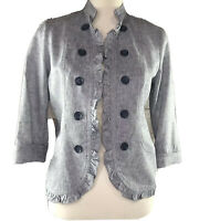 LOFT Outlet Womens Open Blazer Jacket Blue Linen Blend 3/4 Sleeve Size S