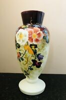 SET OF TWO IDENTICAL ANTIQUE VICTORIAN C1880 ENAMELED TALL HARRACH VASES
