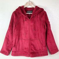 Kristen Blake Women's L Large Red Soft Velour Full Zip Anorak Hooded Jacket