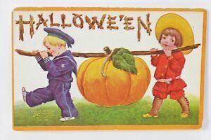 Halloween VTG Postcard International Art Boy & Girl Carrying Pumpkin J.O.L.