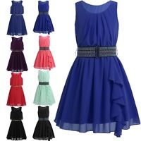 Girls Skater Dress Kids Swing Flared Fancy Party Casual Sleeveless Dresses 5-14Y