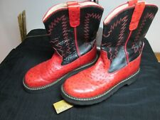 Old West Womens Size 7 Leather Embroidered Faux Ostrich Cowboy / Western Boots.