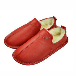 Women Men House Slippers Cover Heel Indoor Winter Warm Flat Shoe Cow Leather
