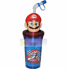 Tumbler 14oz 3D Mario Head Topper/Cap & Straw Mariokart Wii NEW