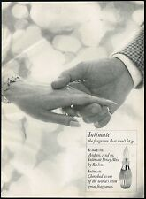 1960's Original Vintage REVLON Intimate Spray Perfume Fragrance Hands Print AD