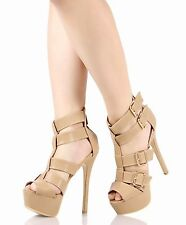 "Taupe Strappy 6"" High Heels Zip Slingback Womens Sandals Peep Toe Shoes Sz 8"