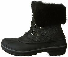 New Crocs Womens Allcast II Luxe Black Shimmer Waterproof Winter Boots Size US 4