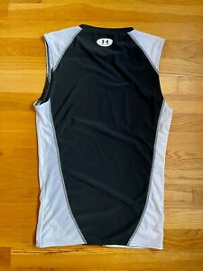 Under Armour Mens Black/White Compression Tank Top Muscle Shirt Size X-Large