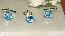 S/P Light Sapphire Cufflinks & Cravat/Corsage/Tie/Scarf Pin-Wedding-Formal Wear