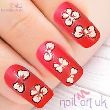 White Bow and Clear Rhinestone Nail Adhesive Stickers, Decals, nailart 01.01.005