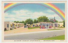 TEXAS SAN ANTONIO LINEN POSTCARD RAINBOW TOURIST & TEXACO STATION CIRCA 1940