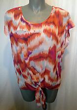Ladies Womens Cap Sleeve Blouse Top Shirt Sheer Orange Print Millers Size20 BNWT