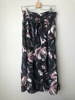 COUNTRY ROAD Midi Skirt Floral Navy Print 100% Linen Waist Tie RRP $150 Sz 10-12