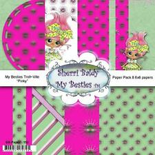 "NEW My-Besties SCRAPBOOK PAPER PACK SET 6 X 6"" free us ship TROLL-VILLE PINKY"