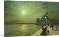 Reflections on the Thames - Westminster Canvas Art Print John Atkinson Grimshaw