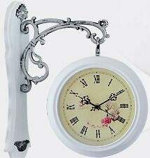 White Home interior Antique Classic Double Side Wall Mount Clock battery