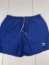 d2e21bf00 Adidas vintage 1980s Blue white nylon shorts Hose soccer running shiny  Medium